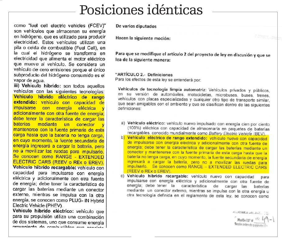 """Las definiciones para """"vehículo eléctrico de rango extendido"""" y """"vehículo híbrido eléctrico"""" son idénticas en el documento del empresario (izquierda) y en la moción número 49 que presentó Ortiz (derecha) para modificar el artículo 2 del proyecto."""