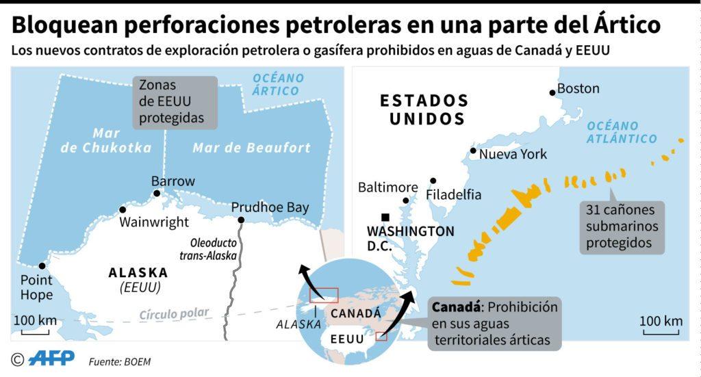 Las zonas que Obama protegión en el Ártico (izquierda) y el Atlántico (derecha). Solo una pequeña parte del Ártico queda disponible.
