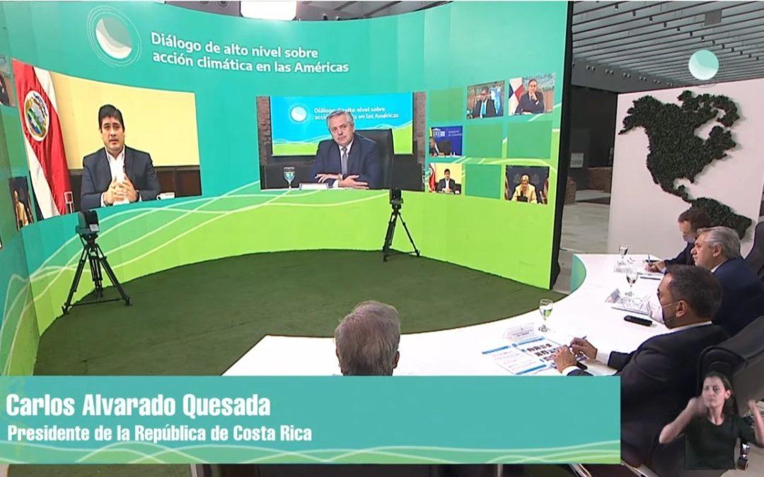 Participó en Diálogo de alto nivel sobre acción climática en las Américas Presidente Carlos Alvarado: La prioridad no debería ser prepararse para un conflicto armado sino para la supervivencia del planeta